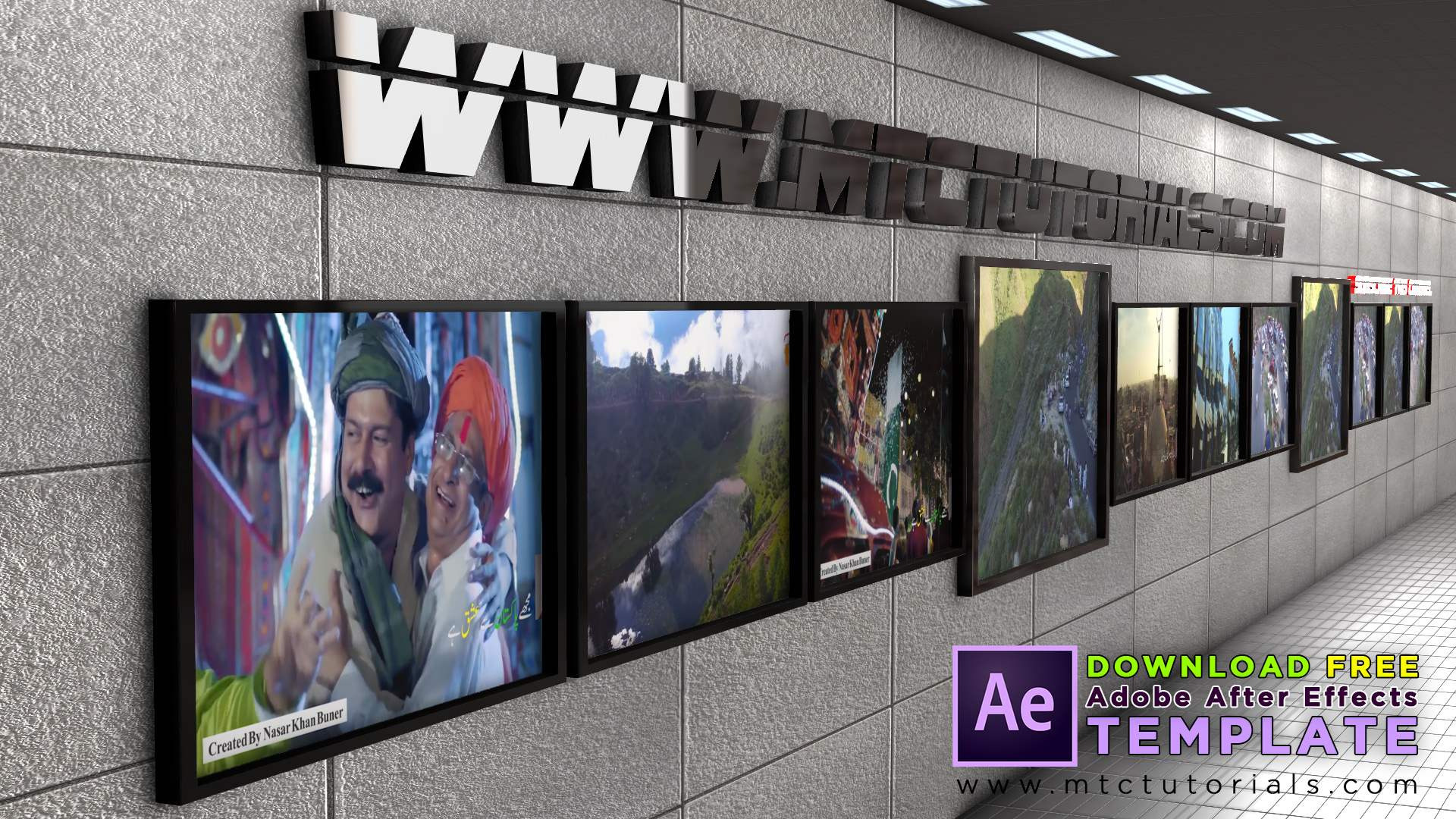 3D video and photo frames ae template
