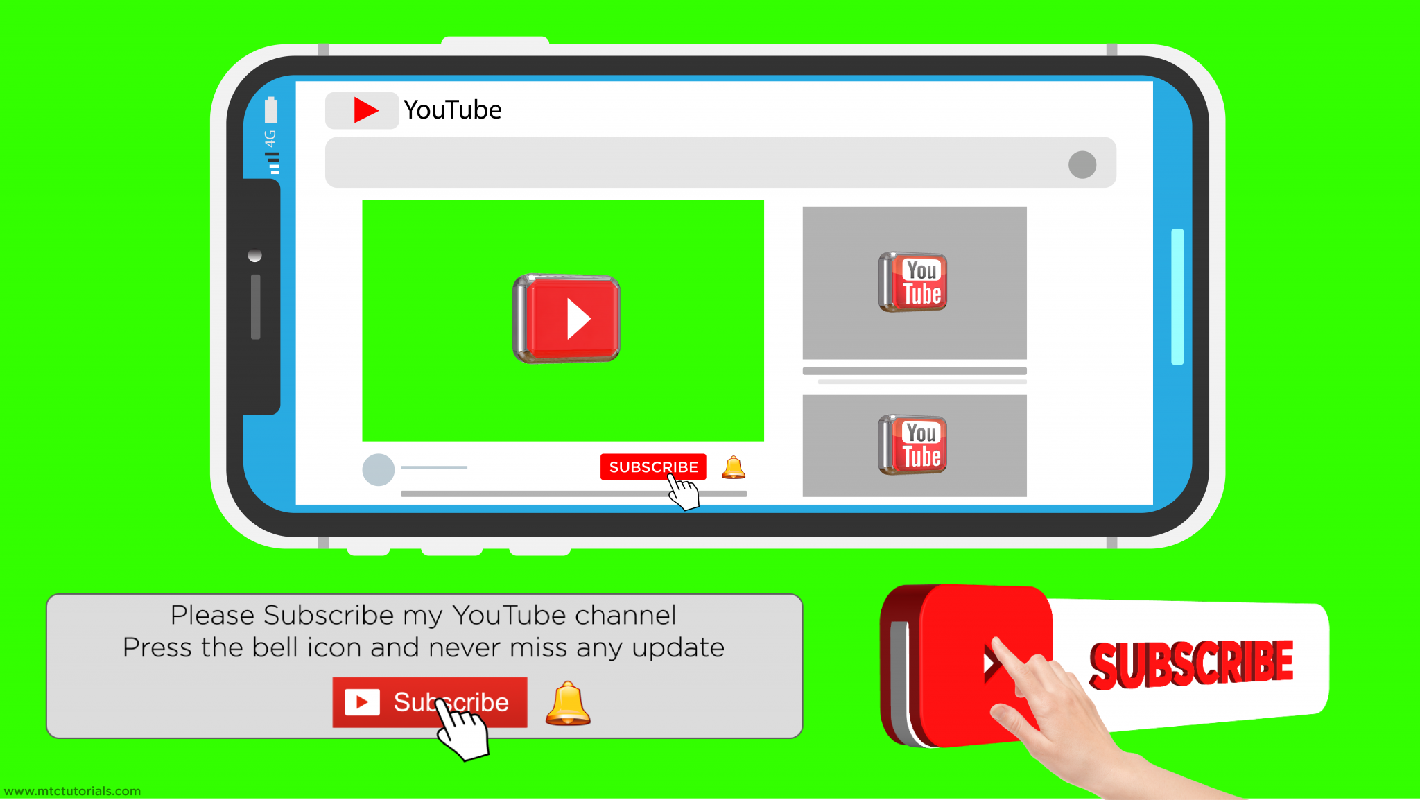 youtube subscribe button and bell icon full set
