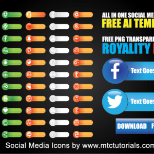 Download Social Media Icons Lower Thirds Free Adobe Illustrator Template and PNG