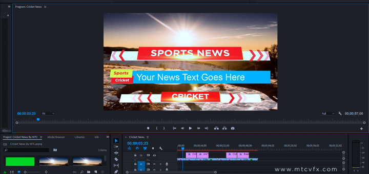 Cricket News Free Adobe Premiere Template by mtc tutorials