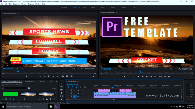 Download free cricket news Adobe Premiere template by mtc tutorials
