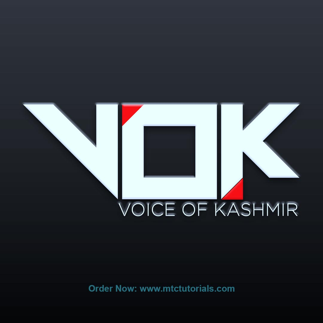 VOK Voice of kashmir red and white logo created by mtc tutorials