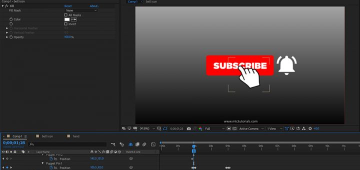 Subscribe button and bell icon Adobe after effects template mtc tutorials