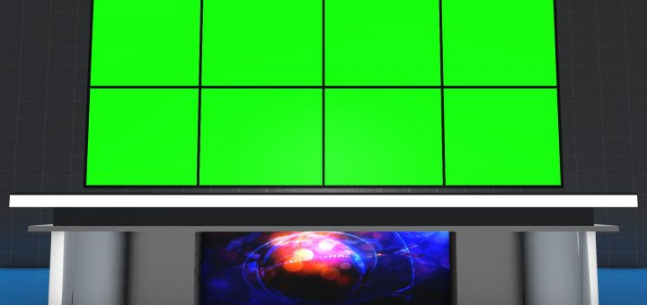 Free News table with green screen and transparent background