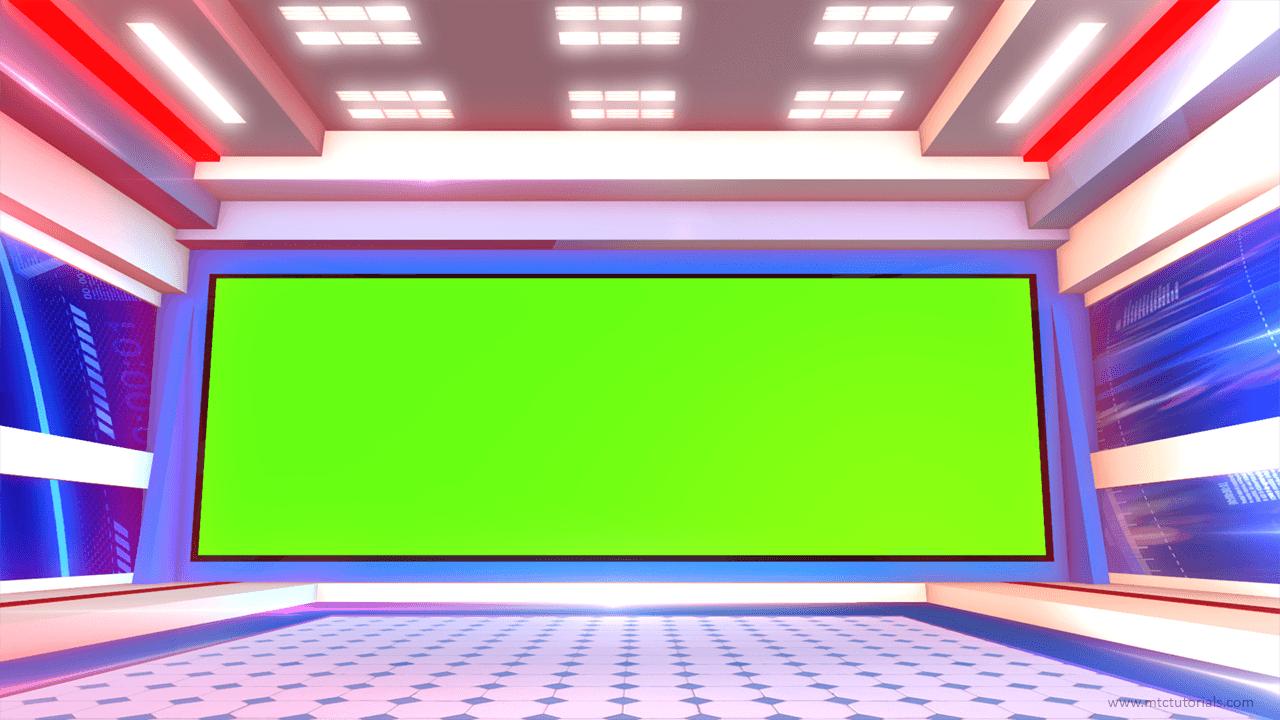 Green screen news studio
