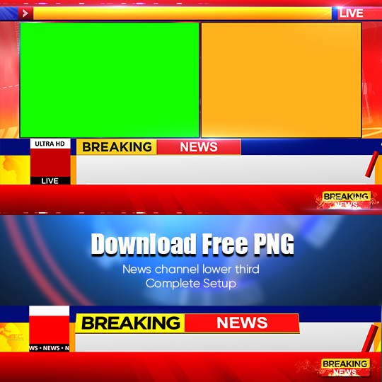 Colorful news channel lower third and frames free green screen