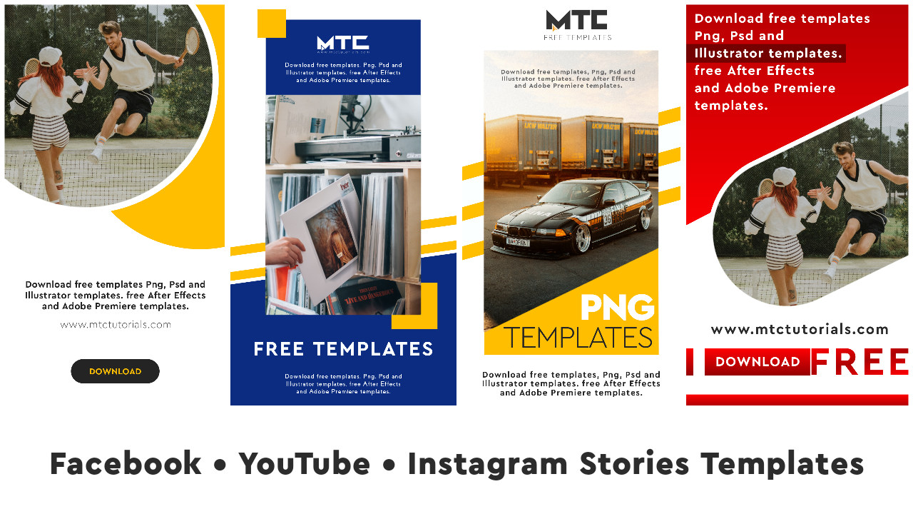 Instagram, Facebook and YouTube Story Images. See only Vectors in PNG.