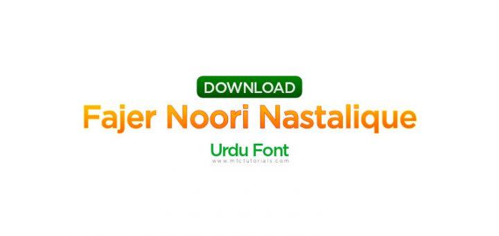 Fajer Noori Nastalique urdu font