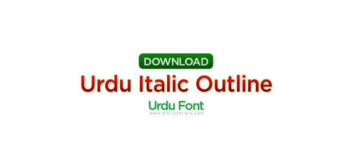 Urdu italic outline