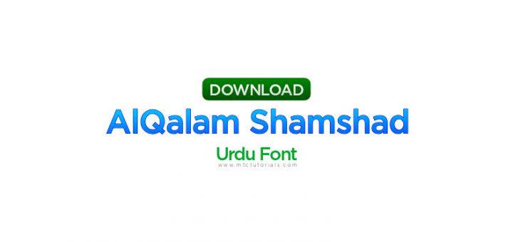 alqalam shamshad regular urdu font