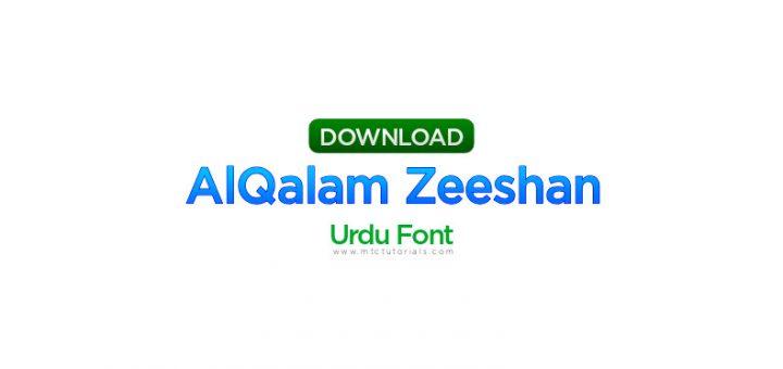 alqalam zeeshan regular font