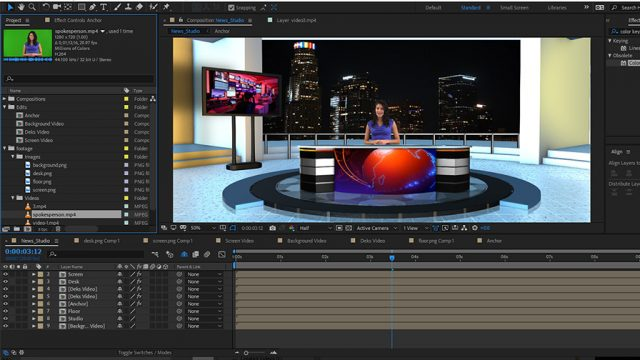 free news studio desk after effects templates download